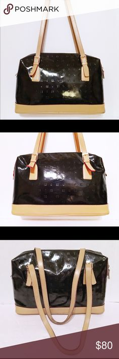 Arcadia Italian Black Embossed Patent Leather Bag Good condition. Lovely bag with some Wear on bottom corners & slight leather creasing. One strap has a dark mark on the underside. Clean interior. Black embossed patent leather with contrast tan leather bottom. Silver metal hardware includes logo engraved zipper pull. Double buckle adjustable straps. Black interior fabric lining. This bag comes to you from my smoke free, dog friendly home. Arcadia Bags Satchels