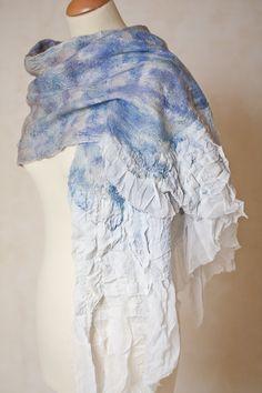 Silk Wool Scarf Fiber Art nuno felted Cobweb Shawl Bird Wings White Blue…