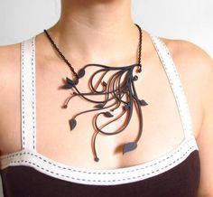 Necklace Art Nouveau on laser cut acrylic pendant with by Mathysa, €38.00