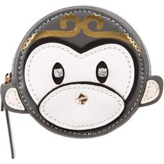 Kate Spade New York Leather Monkey Coin Purse featuring polyvore, women's fashion, bags, wallets, white, zipper coin purse, leather wallet, change purse, white leather wallet and zip wallet