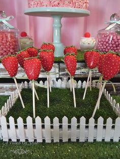 Cake pops at a Vintage Strawberry Shortcake Party #strawberryshortcake #party