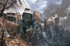 mountain village fantasy medieval sina landscape dwarf rpg artstation landscapes jesse whatley