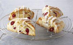 Lemon and Cranberry Scones with Lemon Glaze Recipe by Anna Olson