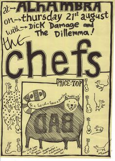 Poster for a Chefs gig in Brighton.