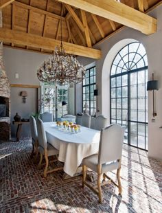 Dining room with brick floor