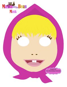 Masha and the Bear Mask- Lots more  free printable kids masks at Great-Kids-Birthday-Parties.Com