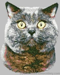 Embroidery designs, embroidery digitizing and FREE designs every week. New ideas, unique embroidery techniques and creative embroidery designs Machine Embroidery Gifts, Embroidery Motifs, Machine Embroidery Designs, Embroidery Ideas, American Shorthair Cat, British Shorthair, Cat Machines, Photo Stitch, F2 Savannah Cat