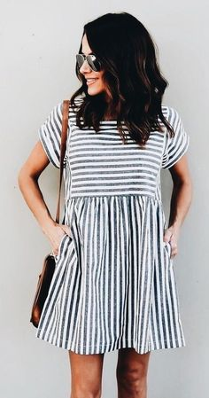 Cute blue and white striped dress. #summerdresses
