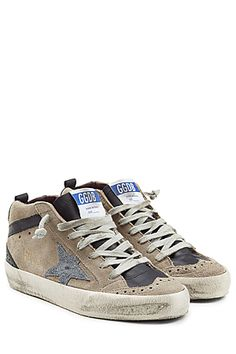Add a touch of tactile indulgence to your urban uniform in these taupe Mid/Star sneakers from It-label Golden Goose #Stylebop