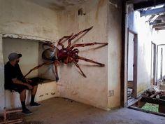 Portuguese street artist creates graffiti that will make you think twice.Portuguese Street Artist Creates Hyper-Realistic Graffiti That Will Stun You - Swish Today Urban Street Art, 3d Street Art, Street Art Graffiti, Street Artists, Graffiti Painting, Graffiti Murals, Art Mural, Graffiti Artists, Illusion Kunst