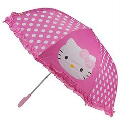 *The cute way to brighten rainy days *Nylon material with Hello Kitty and polka dot design *Sturdy plastic handle and spokes for easy open/close.