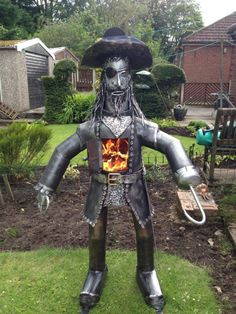Pirate Log Wood Burner Gas Bottle Chimenea Steel Statue Heater