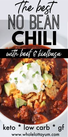 Easy instant pot and crockpot chili with no beans! So hearty with beef and kielb… Easy instant pot and crockpot chili with no beans! So hearty with beef and kielbasa sausage, you won't miss the beans in this savory and tasty low carb keto chili recipe. Keto Chili Recipe, Chili Recipes, Crockpot Recipes, Cooking Recipes, Slow Cooker Desserts, Keto Foods, Low Carb Keto, Low Carb Recipes, Easy Recipes