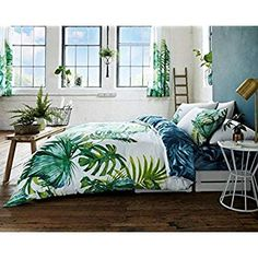 Duvet Cover Set Double with Pillowcases Quilt Bedding Set Reversible Poly Cotton, Tropical Leaf Double Modern Duvet Covers, Double Duvet Covers, Luxury Duvet Covers, Luxury Bedding Sets, King Duvet Cover Sets, Comforter Sets, King Comforter, Tropical Bedrooms, Tropical Bedding