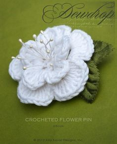 Dewdrop Crocheted Flower Pin. Free Pattern for Kids and Adult with diagram @Afshan Shahid