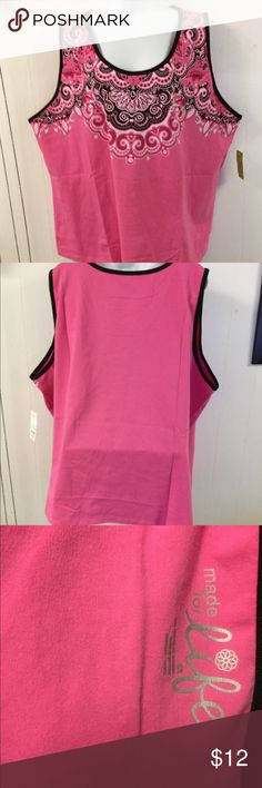 """Made for Life Carmine Rose Tank Top 4X NWT Excellent new condition with tag.   Stated size 4X.  Cotton and spandex blend fabric. Bust up to 60"""".  Length from shoulder to bottom 29"""". Made for Life Tops Tank Tops"""