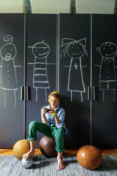 chalkboard in kids room Pintura de pizarra para los armarios infantiles