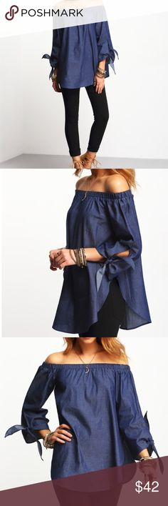 🎉LAST ONE🎉NWT Off Shoulder Denim Tie Sleeve Top Denim Off the Shoulder top. The perfect top for the office and a girls night out. Pair this with you favorite pants or pencil skirt and a great pair of heels.  Clothing Length(cm) : S:61cm Sleeve Length(cm) : S:47cm Bust(cm) : S:96cm Color : Denim Blue Sleeve Length : Long Sleeve MMC Tops Blouses