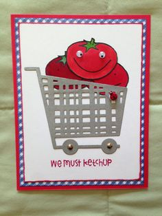 My ketchup card - die and stamps are all from Paper Smooches!  I love how they give life to those vegetables in this set!!