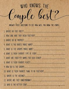 these bridal shower ideas! What cute bridal shower games. This one is kind of like the newlyweds game.Love these bridal shower ideas! What cute bridal shower games. This one is kind of like the newlyweds game. He said she said wedding shower game Fun Bridal Shower Games, Bridal Shower Planning, Unique Bridal Shower, Bridal Shower Party, Bridal Party Games, Bachelorette Party Games, Bridal Shower Question Game, Bridal Shower Questions, Bridal Shower Checklist