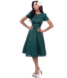 Hunter Green & Black Polka Dot Madden Swing Dress