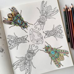 WIP from #tidevarv by #hannakarlzon. The bottom fly is just painted with a base coat of #inktense and the fly above is showing what a difference it makes to add some shading with #prismacolor