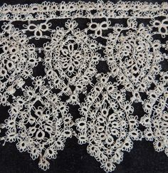 Antique Cotton Lace Hand Tatted 13 IN x 4 IN by FrouFrouShoppe, $40.00