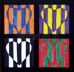 & grade Kids Artists: Op art in complementary colours--Valentine's Day art? Artists For Kids, Art For Kids, Art 2nd Grade, Grade 1, Pop Art, Classe D'art, Ecole Art, Valentines Art, School Art Projects