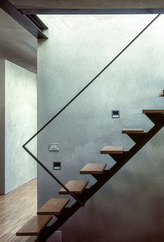 Harmony of concrete wall and hardwood staircase