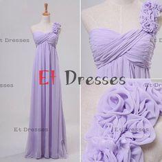 One shoulder sleeveless with flowers lilac chiffon bridesmaid dress ,evening dress