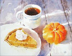 Pumpkin Pie Watercolor - Original Painting 8x10 inches Sweet Dessert Pumpkin Thanksgiving