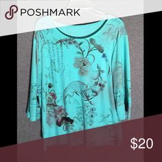 Asian print top! 3/4 Length. XL Asian print top. Turquoise. Slinky material. No tags. Excellent condition. XL. Tops