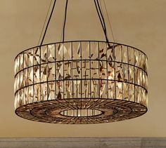 "Adeline Crystal Chandelier | Pottery Barn, 27"" dia x 10"" h, (4) 60 watt bulbs."