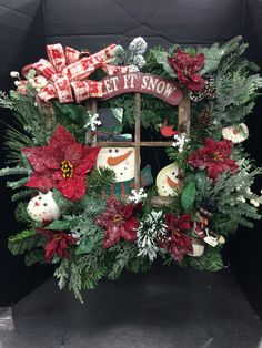 Snowman square wreath custom floral by Andrea for Michaels Round Rock