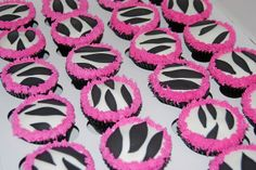 black and white zebra with pink fringe baby shower cupcakes by Simply Sweets, via Flickr