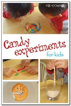 Wondering what to do with all the Halloween candy your kids accumulate this time of year? Check out these fun candy experiments for kids! Your kids will happily sacrifice some of their candy to do these really cool science activities! My kids especially enjoyed experiment #2!  #handsonlearning #candyexperiments #handsonscience || Gift of Curiosity