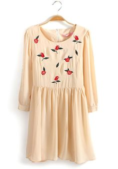 Beige Rose Embroidery Pleated Round Neck Chiffon Dress