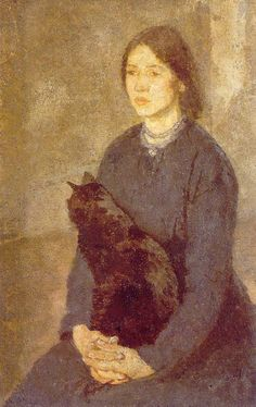 "Gwen John ""Woman holding black cat"" 1920"