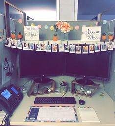 51 DIY Cubicle Decor Ideas for Better Working Space # Office Cubicle Organization, Work Cubicle Decor, Cute Cubicle, Work Desk Decor, Cute Desk Decor, Office Space Decor, Cute Office Decor, Cubicle Ideas, Decorating Work Cubicle
