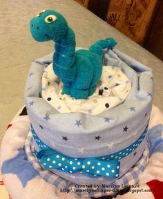~ Marilyn's Diaper Cakes ~ Dinosaur Diaper Cake