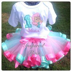Aqua and Pink Tutu Skirt Birthday Tutu Girls Tutu by InspiredFlair, $45.00