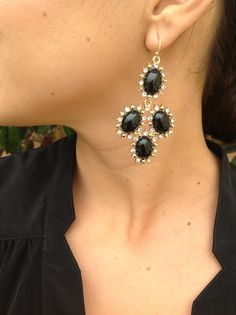 $22 Kendra Scott inspired black and CZ statement earrings