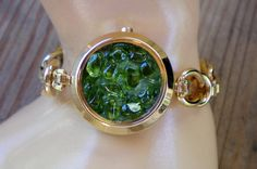 Green jeweled watchband bracelet Recycled by OutsiderArtJewelry