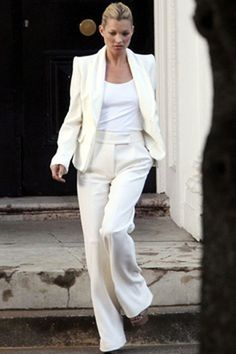 kate moss, white tee, ivory suit