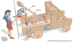 In the Roman-era catapult, an arm bearing a stone was winched down, building up torsion in a bundle of twisted cords. When the torsion was released, the arm swung upward and hurled the stone with great force. Ancient Rome, Ancient History, Catapult For Kids, Roman Era, History For Kids, Roman History, Tech Toys, Military Weapons, Ancient Civilizations