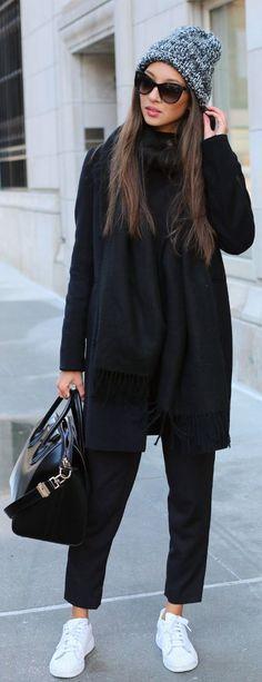 #fall #fashion / black everything More