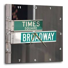 3dRose Times Square Broadway, Wall Clock, 13 by 13-inch