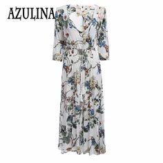 Find More Dresses Information about AZULINA 2017 Spring Summer New Bohemian Dress Retro Half Sleeve Sexy V Neck Floral Print Belt Beach Long Dress Femme Vestido ,High Quality belted swimwear,China dress wide belt Suppliers, Cheap belted denim dress from Azulina Store on Aliexpress.com