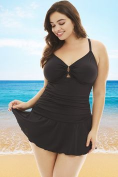 83e4ecf0ed Always for Me Illusion Plus Size Swimsuit – Black Tankini Swimsuits For  Women, Two Piece