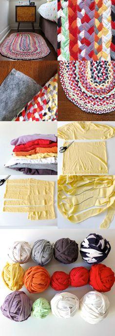 DIY+Rug+with+Used+T-shirts+DIY+Braided+T-shirt+Rug